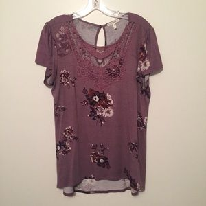 Maurice's floral top with crochet neckline
